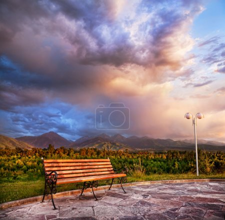 Lonely Bench and mountains