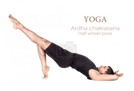 Photo for Variation of ardha chakrasana half wheel pose by Indian man in black cloth isolated at white background. Free space for text and can be used as template for web - Royalty Free Image