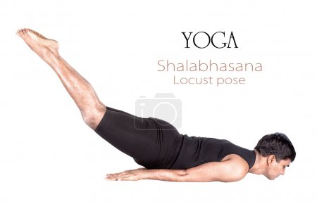 Photo for Yoga shalabhasana locust pose by Indian man in black cloth isolated at white background. Free space for text and can be used as template for web-site - Royalty Free Image