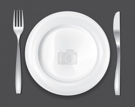 Empty dinner plate, drawing the knife and fork set...
