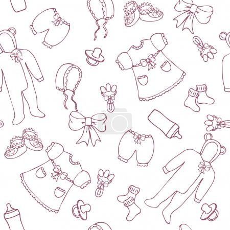 Illustration for Baby girl seamless pattern in simple style - Royalty Free Image