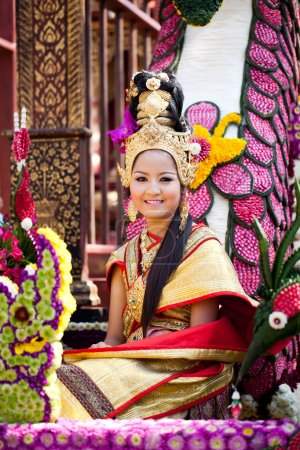 CHIANG MAI, THAILAND - FEBRUARY 4: Traditionally dressed smiling