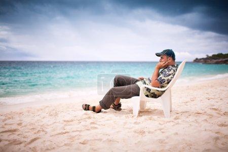 Pensive man near the beachfront