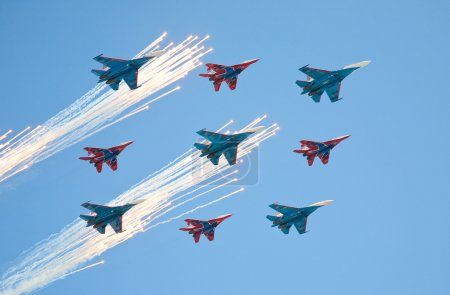 MiG-29 (The Strizhi aerobatic performance demonstrator team) fly