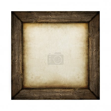 Photo for Wood frame with paper fill isolated on white - Royalty Free Image