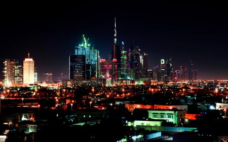 Photo for Dubai downtown night scene with city lights - Royalty Free Image