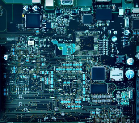 Photo for Inside computer, hardware motherboard components and circuits - Royalty Free Image