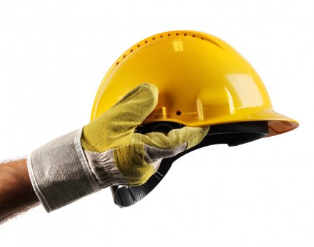 Male workers hand holding modern yellow hard hat