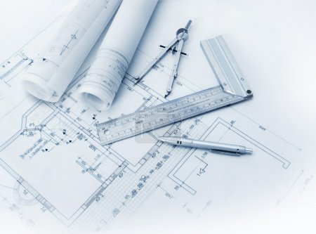 Photo for Construction plan tools and blueprint drawings - Royalty Free Image