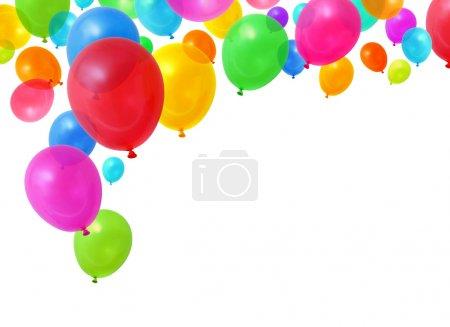 Foto de Globos de fiesta de cumpleaños colorido volando sobre fondo blanco - Imagen libre de derechos