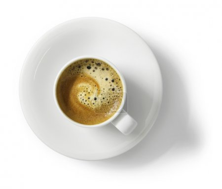 Photo for Cup of espresso coffee on white cup, top view, isolated on white background - Royalty Free Image