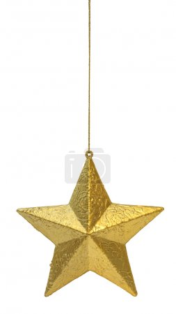 Photo for Golden Christmas decoration star hanging isolated on white background - Royalty Free Image