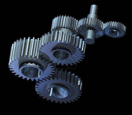 Photo pour Mécanisme complexe des roues dentées et des essieux fonctionnant ensemble - image libre de droit
