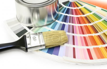Photo for Paint color chart sample swatches, paint brush and can - Royalty Free Image