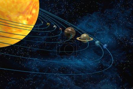 Photo pour Système solaire 3d illustration soleil et les planètes sur fond starfield - image libre de droit