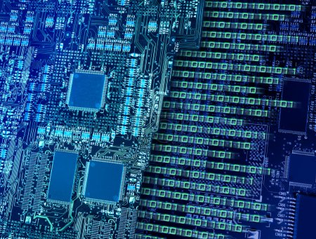 Photo for Computer circuit board with multiple processors making fast binary data output and number breaking - Royalty Free Image