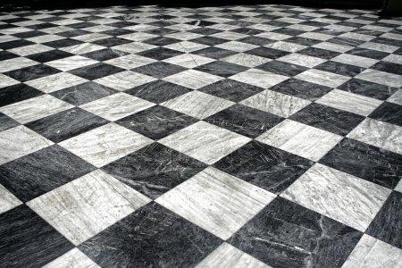 Black et white marble floor