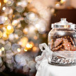 Gingerbread biscuits in glass jar, fantasy Christm...