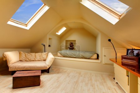 Adorable attic bedroom with unique design