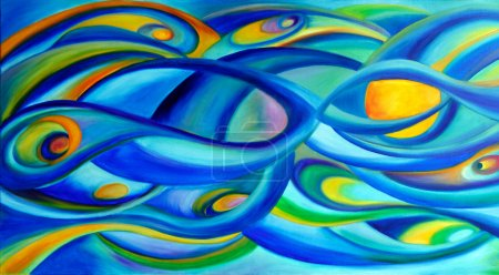 Blue universe sky oil paintings on canvas