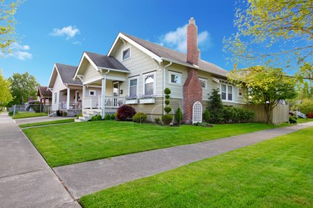 Photo for Beautiful Spring American small house exterior. - Royalty Free Image