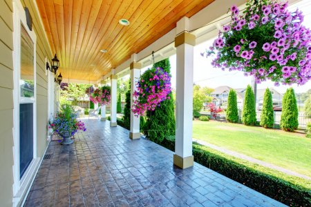 Photo for Large luxury porch with beautiful flowers. - Royalty Free Image