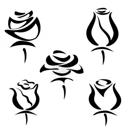 Illustration for Set of rose symbols, decorative vector illustration - Royalty Free Image