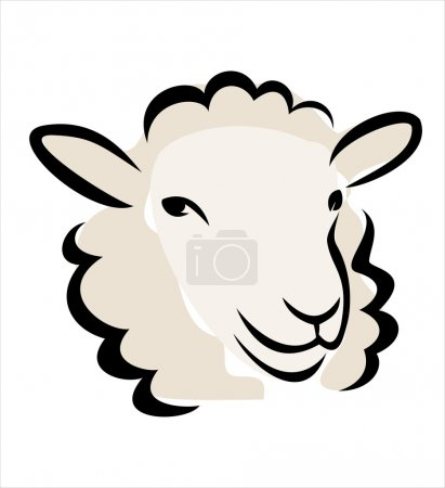 Illustration for Happy sheep portrait, isolated vector illustration - Royalty Free Image