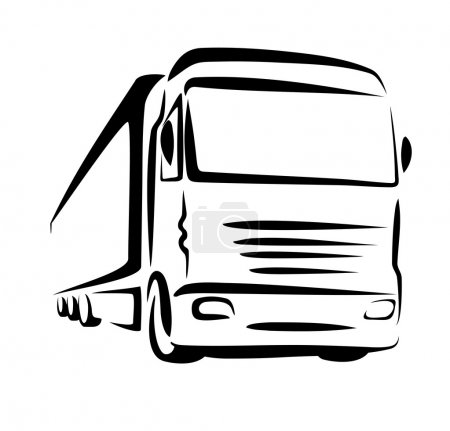 Photo for Truck symbol, sketch in simple lines - Royalty Free Image