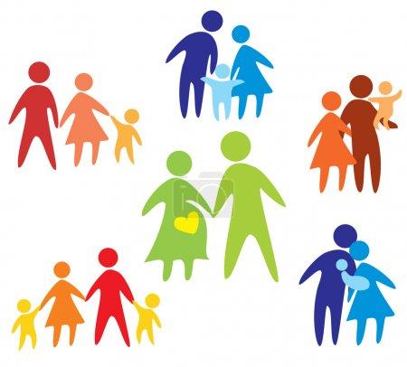 Illustration pour Collection d'icônes famille heureuse multicolore en figures simples - image libre de droit