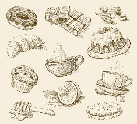 Illustration pour Vecteur vintage dessiné à la main de nourriture - image libre de droit
