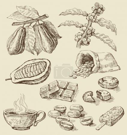 Illustration pour Vecteur dessiné à la main café frais - image libre de droit
