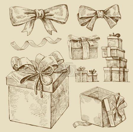 Set of vector gift boxes