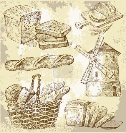 Illustration pour Set vecteur vintage à la main dessiné de pain - image libre de droit