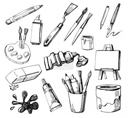 Photo pour Ensemble de trucs d'artiste dessinés à la main - image libre de droit