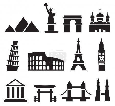 Illustration for Vector black landmark icons on white - Royalty Free Image