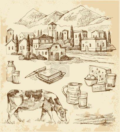 Illustration pour Village collection originale dessinée à la main - image libre de droit