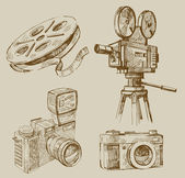 Set vector vintage hand drawn of cameras