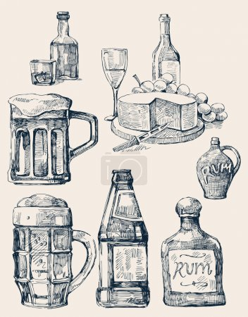 Illustration pour Ensemble vecteur vintage dessiné à la main de boisson - image libre de droit