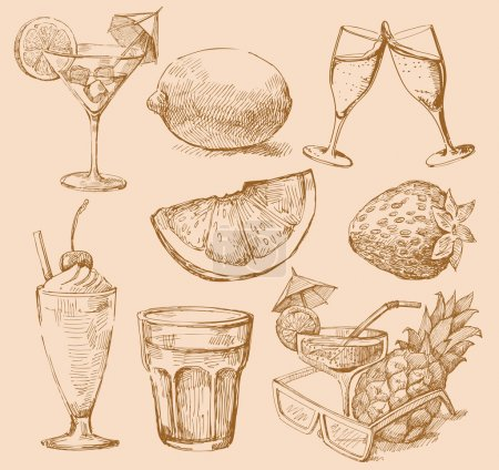 Seamless pattern hand drawn drink...