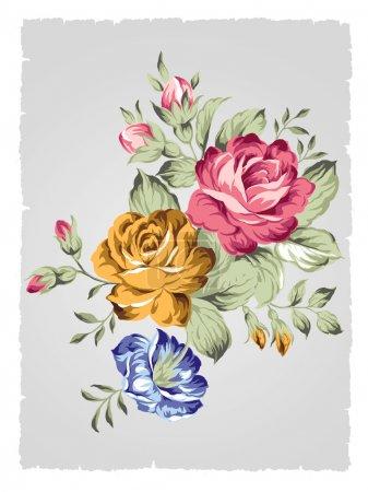 Foto de Mano dibujada viejo estilo Rosa - Fondo simple - Imagen libre de derechos