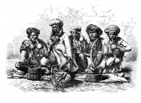 Snake charmers of India. - Drawing Sellier, vintag...