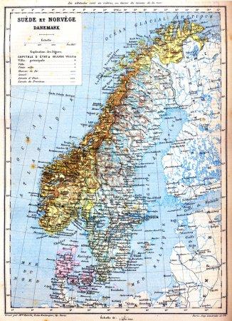 die Karte von Schweden, Norwegen und Dänemark
