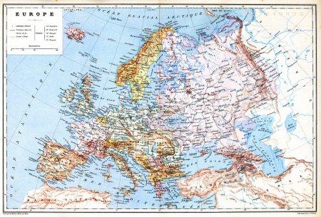 die alte planisphäre-karte von europa