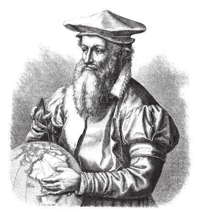 Gerard Mercator, grabado vintage .