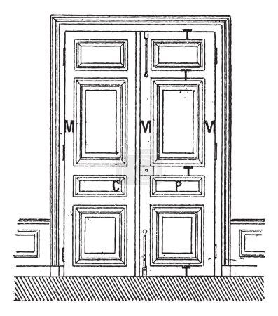 Door with two leaves C, Door, C, frame, M, Amount, P, billboards