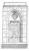 A kapu a székesegyház a Szűzanya Chartres vintage gravírozás