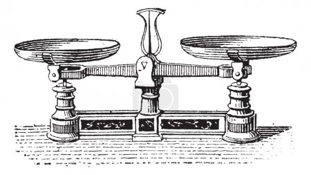 Illustration for Fig.3. Roberval balance, vintage engraved illustration. Dictionary of words and things - Larive and Fleury - 1895. - Royalty Free Image