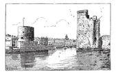 Port of La Rochelle France vintage engraving