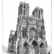 Cathedral of Reims, France, vintage engraved illus...